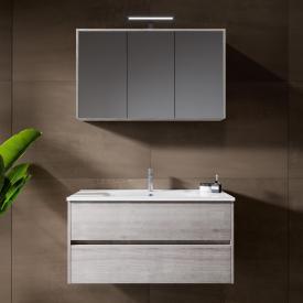 Riho Porto Wave Waschtisch mit Waschtischunterschrank und LED-Spiegelschrank Front eiche grau / Korpus eiche grau
