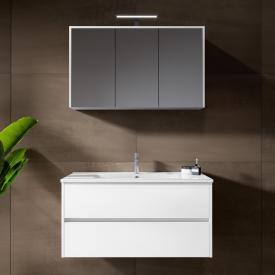 Riho Porto Wave Waschtisch mit Waschtischunterschrank und LED-Spiegelschrank Front weiß hochglanz / Korpus weiß hochglanz