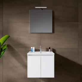 Riho Porto Wave Waschtisch mit Waschtischunterschrank und LED-Spiegel Front weiß hochglanz / Korpus weiß hochglanz