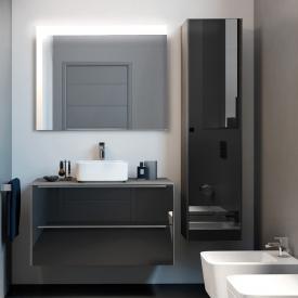 Roca Inspira Waschtischunterschrank für Aufsatzwaschtisch mit 2 Auszügen Front anthrazit/verspiegelt / Korpus city eiche