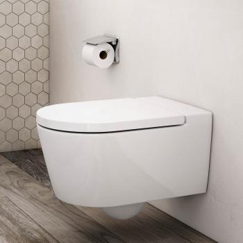 Roca Inspira Wand-Tiefspül-WC round mit WC-Sitz weiß, mit MaxiClean