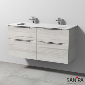 Sanipa 3way Doppelwaschtisch Design mit Waschtischunterschrank mit 4 Auszügen Front linde hell / Korpus linde hell, mit Griffleiste