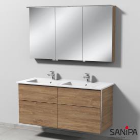 Sanipa 3way Doppelwaschtisch mit Waschtischunterschrank mit 4 Auszügen und LED-Spiegelschrank Front eiche kansas/verspiegelt / Korpus eiche kansas, mit Griffmulde