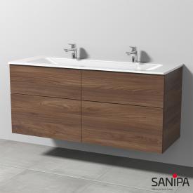 Sanipa 3way Doppelwaschtisch mit Waschtischunterschrank mit 4 Auszügen Front kirsche natural touch / Korpus kirsche natural touch, mit Tip-on-Technik