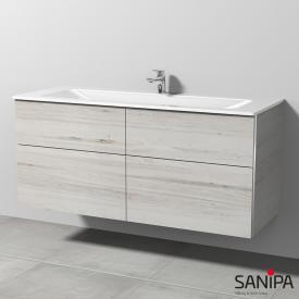 Sanipa 3way Glas-Waschtisch mit Waschtischunterschrank mit 4 Auszügen Front linde hell/Korpus linde hell, mit Griffleiste