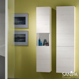Sanipa 3way Hochschrank mit 2 Türen und 1 Auszug Front linde hell/ Korpus linde hell mit Griffleiste