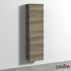 Sanipa 3way Hochschrank mit 1 Tür und 1 Wäschekippe Front eiche nebraska / Korpus eiche nebraska, mit Griffmulde