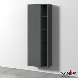 Sanipa 3way Hochschrank mit 1 Tür und Seitenregal Front anthrazit matt / Korpus anthrazit matt, mit Tip-on-Technik