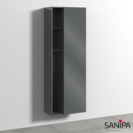 Sanipa 3way Hochschrank mit 1 Tür und Seitenregal Front anthrazit glanz / Korpus anthrazit glanz, mit Tip-on-Technik