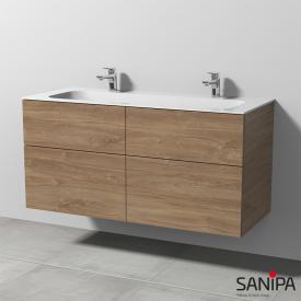 Sanipa 3way Doppelwaschtisch Finion mit Waschtischunterschrank mit 4 Auszügen Front eiche kansas / Korpus eiche kansas, mit Tip-on-Technik