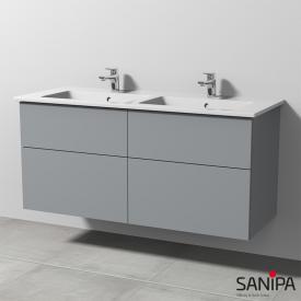 Sanipa 3way Keramik-Doppelwaschtisch Venticello mit Waschtischunterschrank mit 4 Auszügen Front steingrau/Korpus steingrau, mit Tip-on-Technik