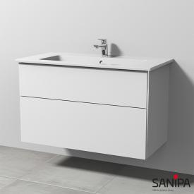 Sanipa 3way Keramik-Waschtisch Venticello Waschtischunterschrank mit 2 Auszügen Front weiß soft/Korpus weiß soft, mit Griffleiste