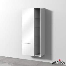 Sanipa 3way Mittelschrank mit 1 Tür, 1 Auszug und Seitenregal Front weiß glanz/ Korpus weiß glanz mit Push-to-Open