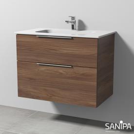 Sanipa 3way Waschtisch Design mit Waschtischunterschrank mit 2 Auszügen Front kirsche natural touch / Korpus kirsche natural touch, mit Griff