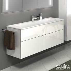 Sanipa 3way Waschtisch mit Waschtischunterschrank mit 4 Auszügen Front weiß glanz / Korpus weiß glanz, mit Tip-on-Technik