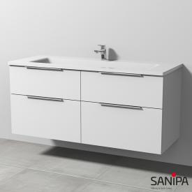 Sanipa 3way Waschtisch mit Waschtischunterschrank mit 4 Auszügen Front weiß soft / Korpus weiß soft, mit Griffleiste