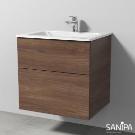 Sanipa 3way Waschtisch mit Waschtischunterschrank mit 2 Auszügen Front kirsche natural touch / Korpus kirsche natural touch, mit Tip-on-Technik