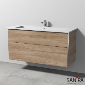 Sanipa 3way Waschtisch Venticello mit Waschtischunterschrank mit 4 Auszügen Front ulme natural touch / Korpus ulme natural touch, mit Griffmulde