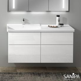 Sanipa 3way Waschtischunterschrank mit 4 Auszügen für P3 Comforts Front weiß glanz/ Korpus weiß glanz