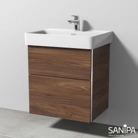 Sanipa 3way Waschtischunterschrank mit 2 Auszügen für Pro S Front kirsche natural touch/ Korpus kirsche natural touch