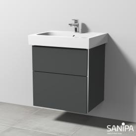 Sanipa 3way Waschtischunterschrank für iCon mit 2 Auszügen Front anthrazit matt / Korpus anthrazit matt, mit Griffmulde