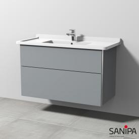Sanipa 3way Waschtischunterschrank für Starck 3 mit 2 Auszügen Front steingrau / Korpus steingrau, mit Griffmulde