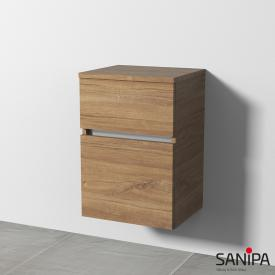 Sanipa CurveBay Seitenschrank mit 2 Auszügen Front eiche kansas / Korpus eiche kansas