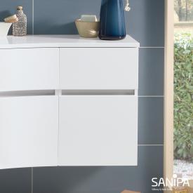 Sanipa CurveBay Seitenschrank mit 2 Auszügen Front weiß glanz / Korpus weiß glanz