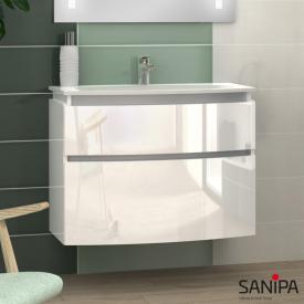 Sanipa CurveBay Waschtischunterschrank mit 2 Auszügen Front weiß glanz / Korpus weiß glanz