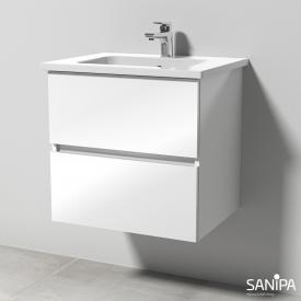 Sanipa Solo One Euphoria Waschtisch mit Waschtischunterschrank mit 2 Auszügen Front weiß glanz / Korpus weiß glanz
