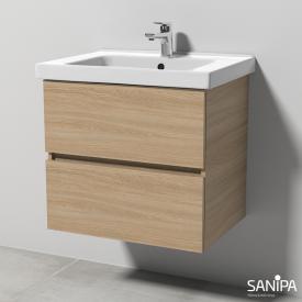 Sanipa Solo One Harmonia Keramik-Waschtisch mit Waschtischunterschrank mit 2 Auszügen Front ulme impresso / Korpus ulme impresso