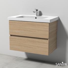 Sanipa Solo One Harmonia Waschtisch mit Waschtischunterschrank mit 2 Auszügen Front ulme impresso / Korpus ulme impresso