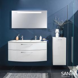 Sanipa Solo One Round Doppelwaschtisch mit Waschtischunterschrank mit 2 Auszügen Front weiß hochglanz / Korpus weiß hochglanz