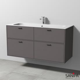 Sanipa Vindo Finion Waschtisch mit Waschtischunterschrank mit 4 Auszügen Front kiesel matt / Korpus kiesel matt, Griffe kiesel matt, mit 1 Hahnloch, mit Überlauf