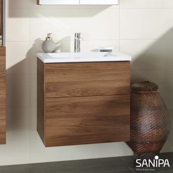Sanipa 3way Waschtischunterschrank mit 2 Auszügen für Smyle Front kirsche natural touch/ Korpus kirsche natural touch