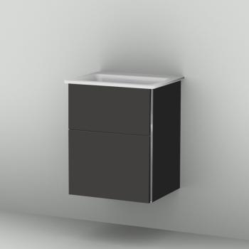 Sanipa 3way Waschtischunterschrank mit 2 Auszügen für Xeno² Front anthrazit matt/ Korpus anthrazit matt