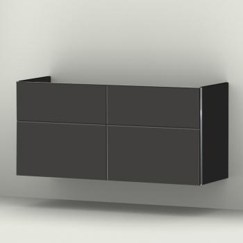 Sanipa 3way Waschtischunterschrank mit 4 Auszügen für Doppelwaschtisch iCon Front anthrazit matt/ Korpus anthrazit matt