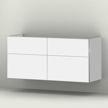 Sanipa 3way Waschtischunterschrank mit 4 Auszügen für Doppelwaschtisch Tonic II Front weiß soft/ Korpus weiß soft