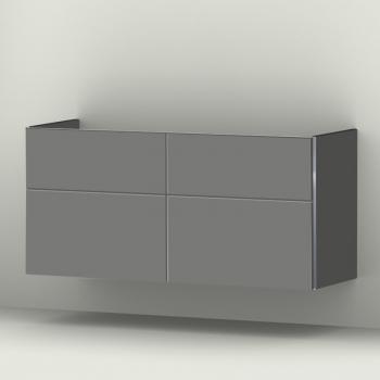 Sanipa 3way Waschtischunterschrank mit 4 Auszügen für Doppelwaschtisch Vivia Front steingrau/ Korpus steingrau
