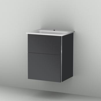 Sanipa 3way Waschtischunterschrank mit 2 Auszügen inkl. Glas-Waschtisch Front anthrazit glanz/ Korpus anthrazit glanz