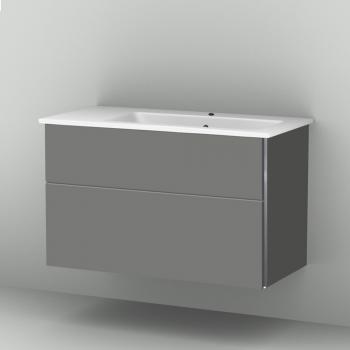 Sanipa 3way Waschtischunterschrank mit 2 Auszügen inkl. Keramik-Waschtisch Venticello Front steingrau/ Korpus steingrau