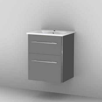 Sanipa 3way Waschtischunterschrank mit 2 Auszügen inkl. Keramik-Waschtisch Venticello, inkl. Griff Front steingrau/ Korpus steingrau