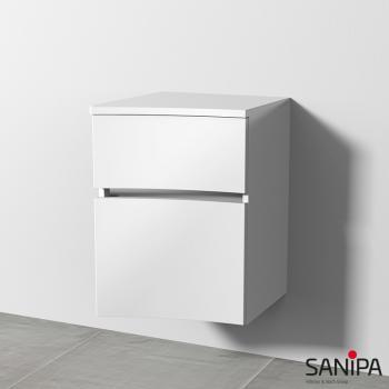 Sanipa CurveBay Anbauschrank geschwungen mit 2 Auszügen Front weiß glanz / Korpus weiß glanz