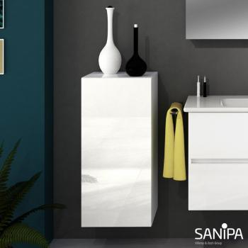 Sanipa Solo One Euphoria/Harmonia Mittelschrank mit 1 Tür Front weiß glanz / Korpus weiß glanz