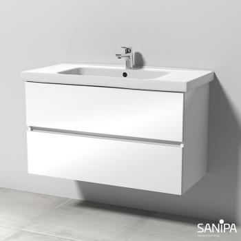 Sanipa Solo One Harmonia Keramik-Waschtisch mit Waschtischunterschrank mit 2 Auszügen Front weiß glanz / Korpus weiß glanz