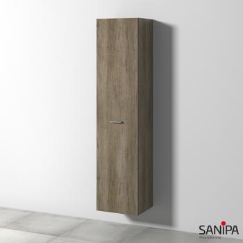 Sanipa Solo One Round Hochschrank mit 1 Tür Front eiche nebraska / Korpus eiche nebraska