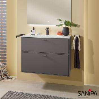 Sanipa Vindo Krita Stone Waschtisch mit Waschtischunterschrank mit 2 Auszügen Front kiesel matt / Korpus kiesel matt, Griffe kiesel matt