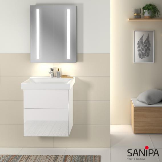 Sanipa 3way Waschtischunterschrank mit 2 Auszügen für Xeno² Front kirsche natural touch/ Korpus kirsche natural touch