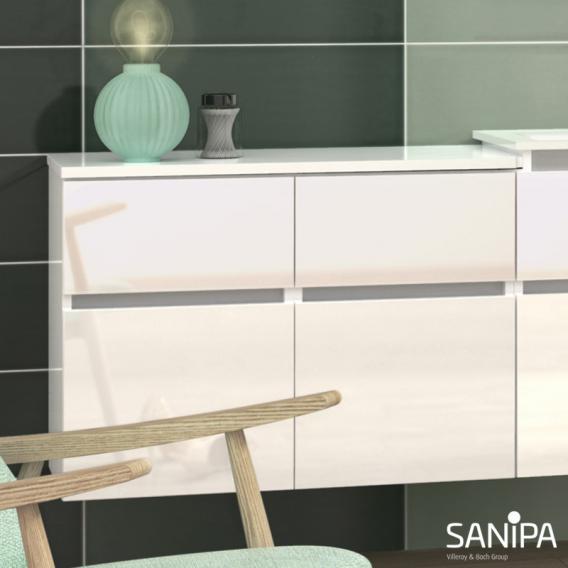 Sanipa CantoBay Abdeckplatte groß für Anbauschrank gerade weiß glanz
