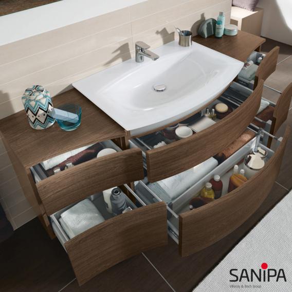 Sanipa CurveBay Waschtischunterschrank mit 2 Auszügen Front eiche santana/ Korpus eiche santana, mit Beleuchtung